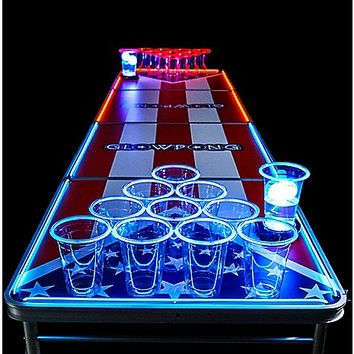Glowing Americana Beer Pong Table - 8 ft - Spencer's