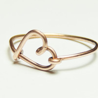 heart ring-  love heart ring- Special price   copper wire ring love heart keoops8 shop