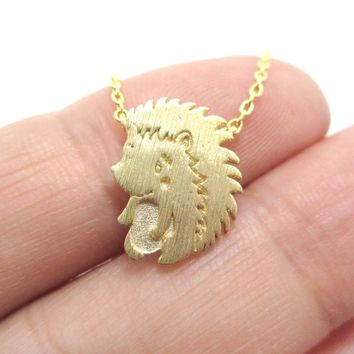 Cute Baby Hedgehog Porcupine Shaped Animal Charm Necklace in Gold