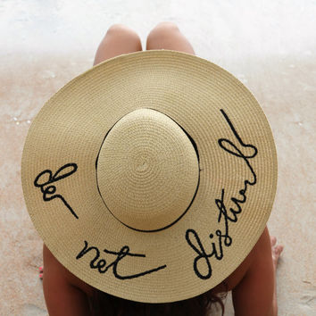 Floppy Hat Embroidered Do Not Disturb Beach Hat