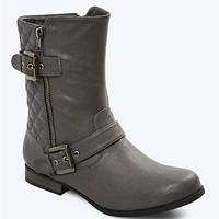 Double Buckle Quilted Boot
