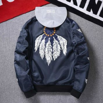 Jaqueta Masculina Men's Bomber Jacket and Coats Vintage Indian Air Force Hip Hop Kanye West 2018 Autumn Windbreaker Streetwear