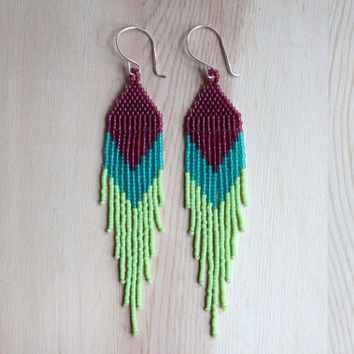 long and pointed LIME peyote stiched delica seed bead earrings