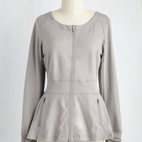 Athletic Mid-length Play Your Cardio Right Jacket in Grey