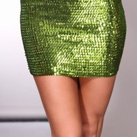 Lime Sequin Detailing Throughout Stretchy Fit Glamorous Skirt