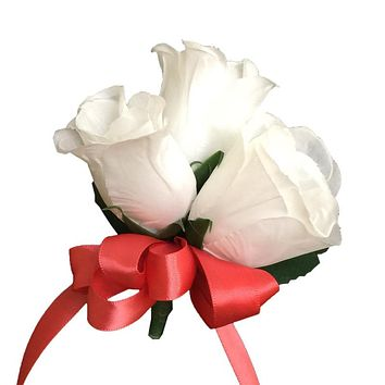 Pin corsage- Three Rosebuds wrapped with floral tape- Pick Ribbon Color Below