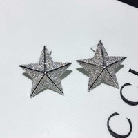 DCCKG2C 2018 Charm Gucci Women star Crystal Rhinestone Fashion Stud Earring cartilage hoop stud drop Jewelry