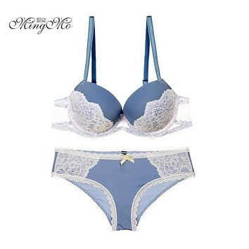 Newest Spell Color Sexy Women Bra Sets Lace Embroidery VS Bra Push Up Underwear Bras Brief Sets Gray/Beige/Blue/Purple