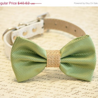 Green and burlap Dog Bow Tie, Burlap Wedding, Country rustic wedding, Pet Accessory, Dog Lovers, Burlap Pet wedding accessory