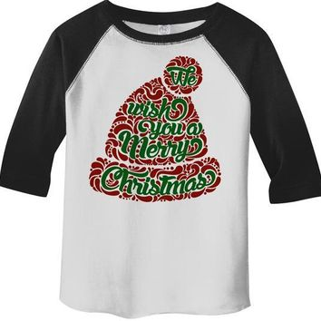 Kids Wish You Merry Christmas Winter Hat T-Shirt Xmas Shirts Hipster Graphic Tee Toddler Boy's Girl's  3/4 Sleeve Raglan