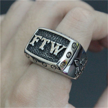 1pc Free Shipping Biker Ring 316L Stainless Steel FTW Middle Finger Punk Mechanical Screw Motor Biker Ring