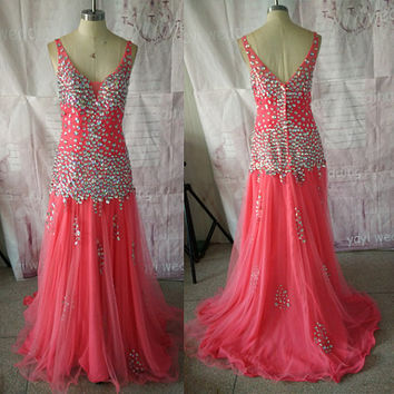 Gorgeous Stunning Rhinestones Crystals V-neck Watermelon Tulle Chiffon Sheath Sexy Prom Dresses Evening Dresses ET158