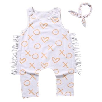 XO Fringe Jumpsuit & Headband Set
