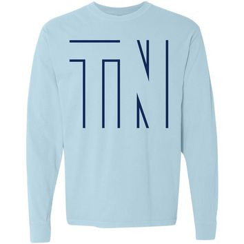 Adult Hollow TN on a Long Sleeve Chambray T-Shirt