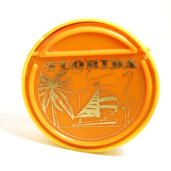 Vintage Florida Souvenir Plastic Jewelry Box with Mirror Mid Century Orange Yellow Palm Tree Flamingo Sail Boat