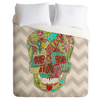 Sharon Turner Flower Skull Duvet Cover