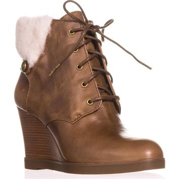 MICHAEL Michael Kors Carrigan Wedge Knit Cuff Lace Up Ankle Boots, Dark Caramel, 8 US / 38.5 EU