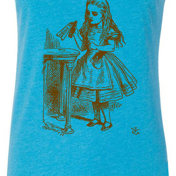 Alice in Wonderland - Drink Me (Brown) Tri-Blend Racerback Tank-Top