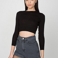 Stone Wash High-Waist Jean Cuff Short
