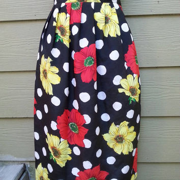 Vintage 80s Leslie Fay Black and White Polka Dot Large Floral Print Skirt Size 6