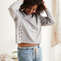 Aerie Lace-Up Side Sweatshirt, Medium Heather