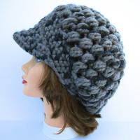 Women's Crochet Cap - Newsboy Hat In Raven - Puff Stitch Hat With Visor - Two Tone Gray Hat - Brimmed Beanie - Crochet Accessories
