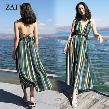 New Women Cover Ups Striped Ruffled Backless Halter Dress High Waist Beach Sexy Ankle-Length Green Striped Cover Up