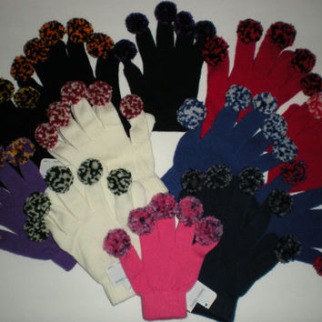 Custom Colors Team Spirit Cheer Cheerleader Gloves Pom Pom