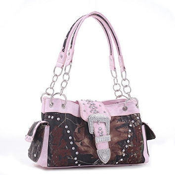 Licensed Mossy Oak Camo Purse With Pink trim Accents and Buckle Detail