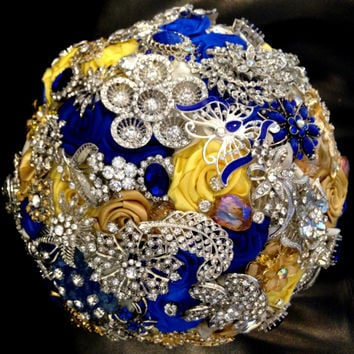 Cascading Bridal Brooch Bouquet. Deposit on made to order Royal Blue,Mustard Yellow,Gold,White Teardrop Wedding Bling Diamond Broach Bouquet