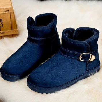 Waterproof snow boots with high-level increase with warm velvet metal button boots Dark blue