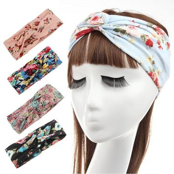 New hair ornaments Bohemian headband printed cotton crossed lady [11275364871]