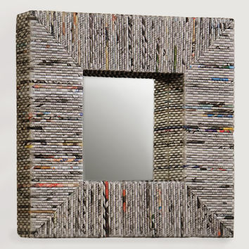 Recycled Newspaper Mirror, Square - World Market
