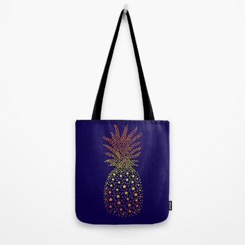 Golden Pineapple Stars Tote Bag by ES Creative Designs