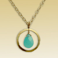 Yellow gold filled hammered circle and blue ocean by artisanfield