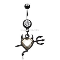 Cruela's Heart Belly Button Ring (Clear)