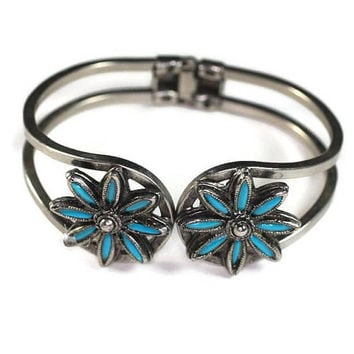 Southwestern Style Simulated Turquoise Bracelet Clamper Bangle Vintage