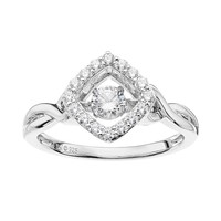 DiamonLuxe 5/8 Carat T.W. Simulated Diamond Sterling Silver Square Floating Ring (White)