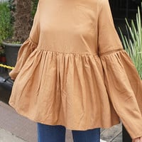 Khaki Cut Out Ruffled Blouse