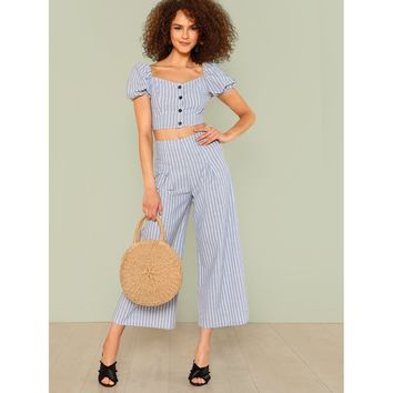 Blue Button Up Crop Striped Top And Wide Leg Pants Set