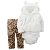 3-Piece Hooded Velboa Vest Set