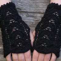 Fingerless gloves ~ Pitch black knit wrist warmers ~ Unique gift for girlfriend birthday, goth wedding onyx lace mittens