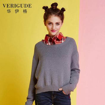 Veri Gude Women's Boxy Sweater Loose Style Round Collar Side Slit Knitted Pullover