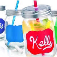 Set of Four (4) 15-oz Colorful Chalkboard Mason Jar Beverage Cups ~ 4 Clear Glass Drink Cups with Metal Lid, Straw and Chalk Included:Amazon:Kitchen & Dining
