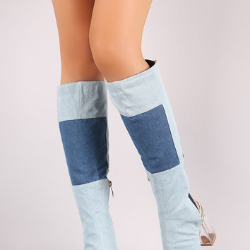 Denim Patchwork Chunky Lucite Heeled Cutout Knee High Boots