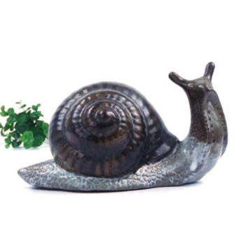 vintage 90s red clay pottery snail figurine figure simple plain glaze neutral natural woodland creature animal decorative home decor large