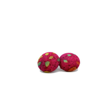 Batik Earrings // Pink Batik Fabric // Button Earrings // Gifts under 25 // Button Jewelry // Fabric Earrings