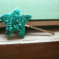 Teal Stardust Sparkle Hair Pin // Felt and Sequin // Women's Hair Accessory by OrdinaryMommy on Etsy