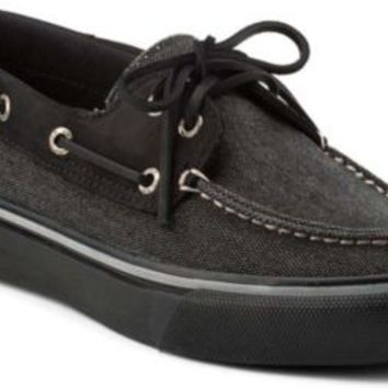 Sperry Top-Sider Bahama Heavy Canvas 2-Eye Boat Shoe BlackCanvas/BlackLeather, Size 9M  Men's Shoes