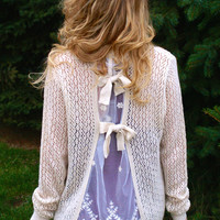 Tied With Love Cardigan: Beige